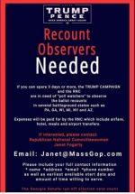 Recount Observers Needed in Battleground States